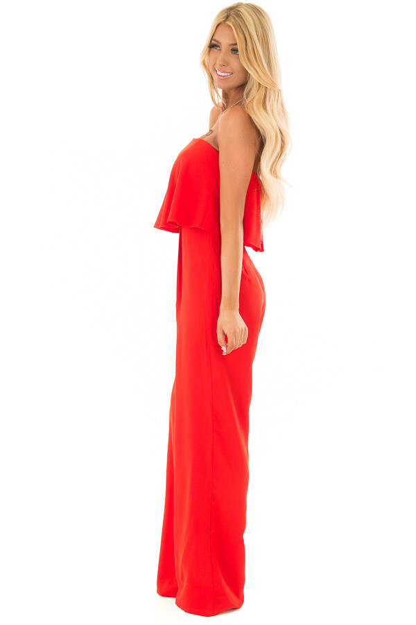 Candy Apple Red Sleeveless Jumpsuit with Bust Overlay side full body