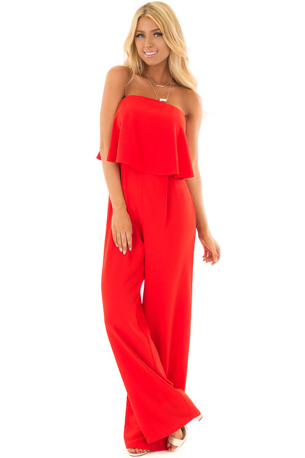 Candy Apple Red Sleeveless Jumpsuit with Bust Overlay front full body