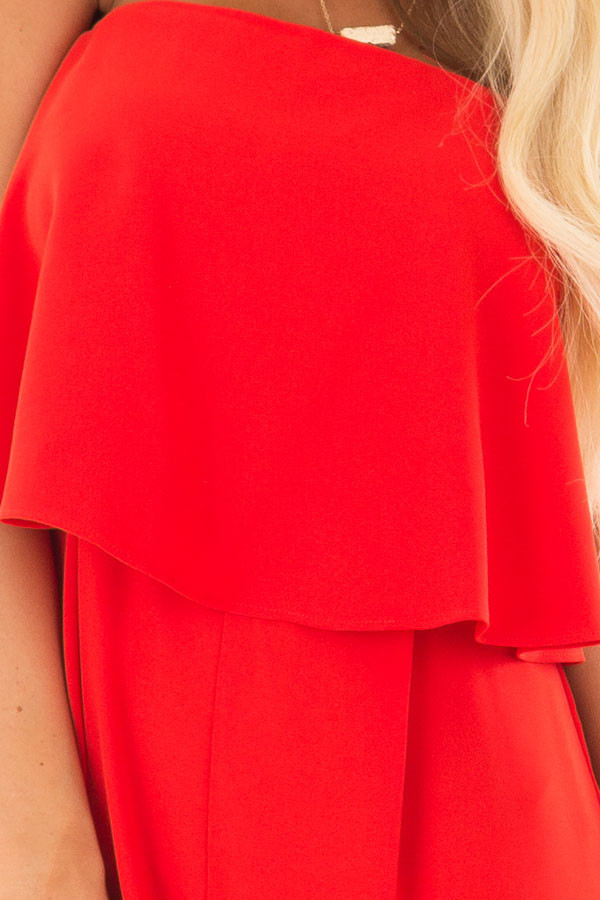 Candy Apple Red Sleeveless Jumpsuit with Bust Overlay detail