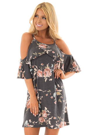 Charcoal Floral Print Cold Shoulder Dress front close up