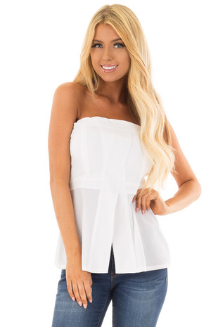 White Fitted Tube Top with Fold Over Neckline front close up