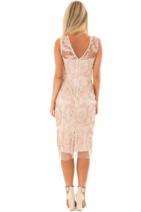 Light Nude Embroidered Fitted Dress back full body