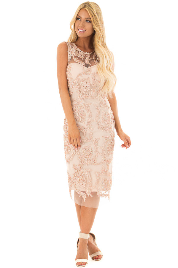 Light Nude Embroidered Fitted Dress front full body