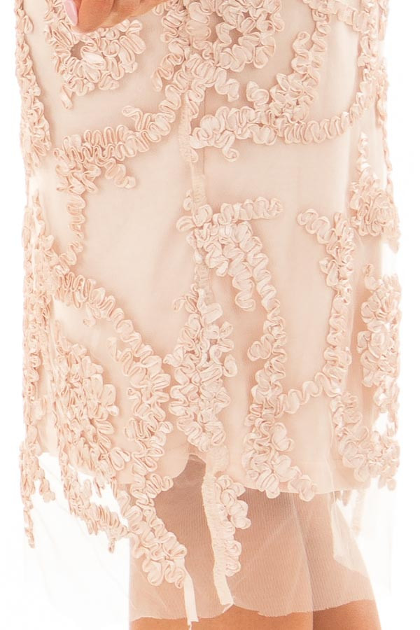 Light Nude Embroidered Fitted Dress detail