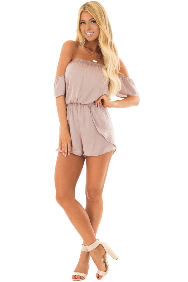 Faded Rose Off the Shoulder Romper with Layered Detail front full body