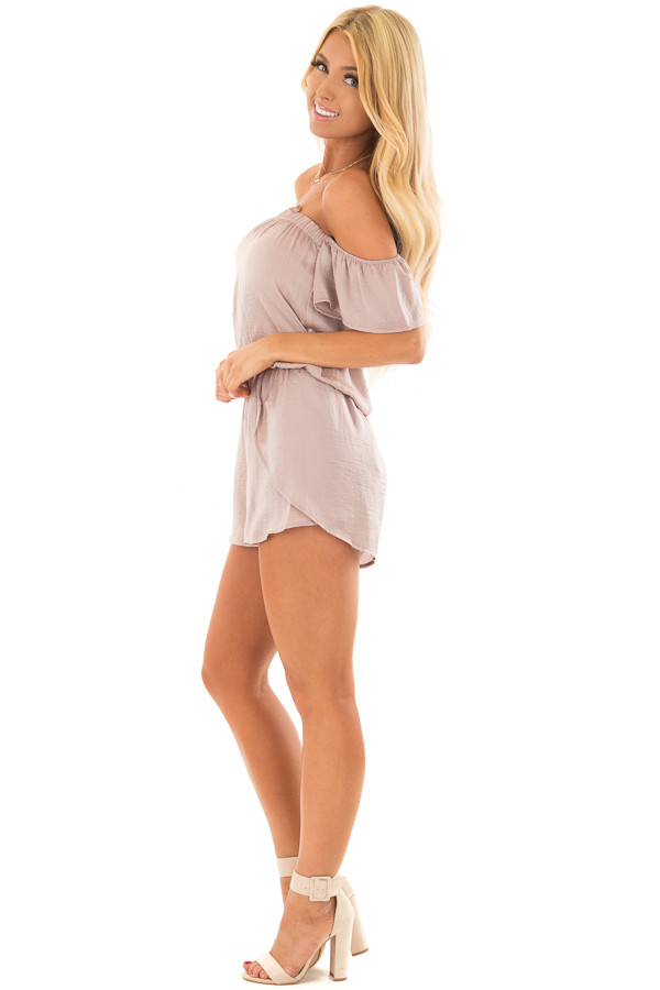 Faded Rose Off the Shoulder Romper with Layered Detail side full body