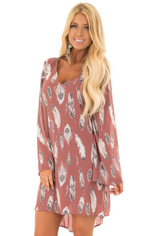 Deep Mauve Feather Print Long Bell Sleeve Mini Dress front close up