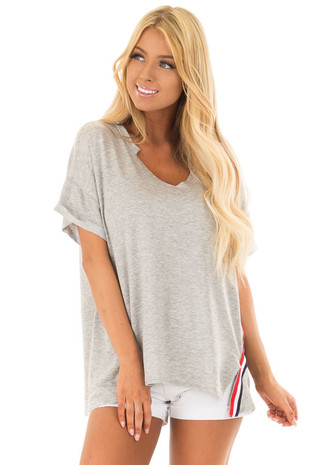 Heather Grey Comfy Fit Tee with Americana Stripes front close up
