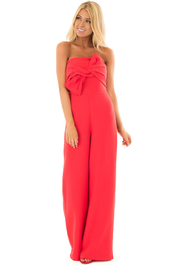 Rose Red Bandeau Jumpsuit with Bow Detail front full body