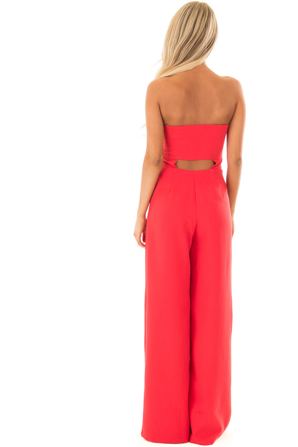 Rose Red Bandeau Jumpsuit with Bow Detail back full body