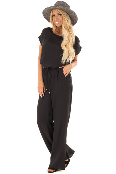 Black Loose Fit Jumper with Tied Waist and Cuffed Sleeves front full body