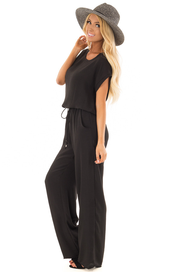 Black Loose Fit Jumper with Tied Waist and Cuffed Sleeves side full body