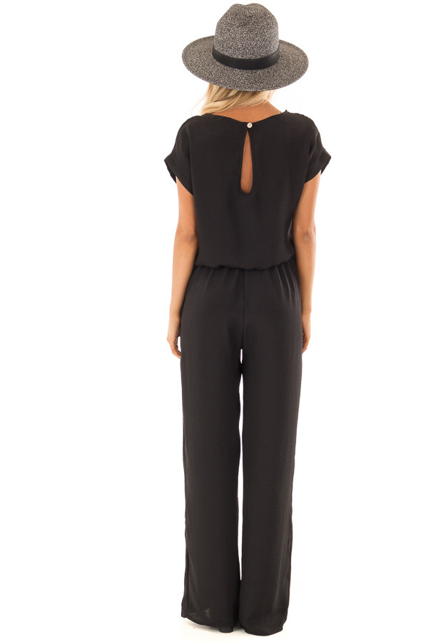 Black Loose Fit Jumper with Tied Waist and Cuffed Sleeves back full body