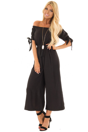 Black Off the Shoulder Jumpsuit with Tie Sleeve Detail front full body
