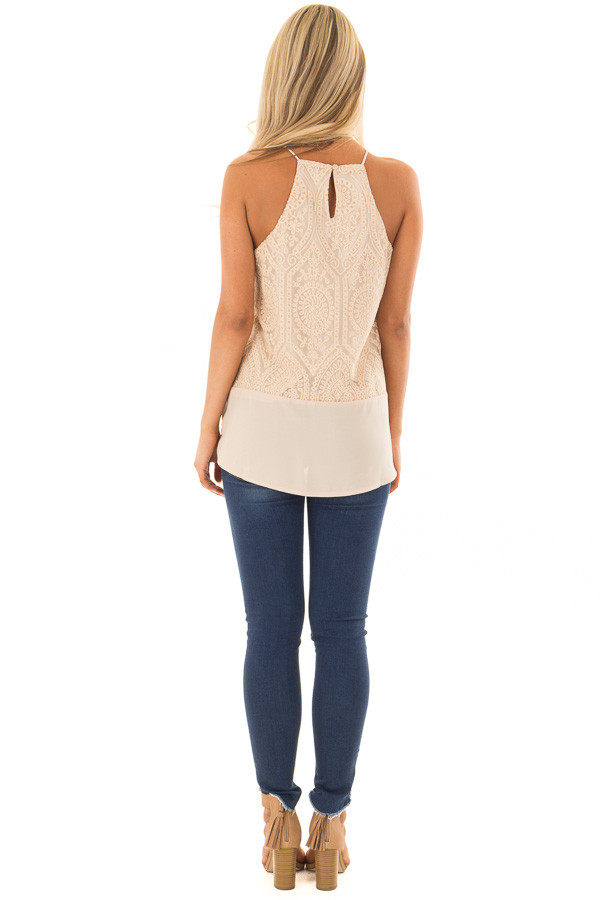 Beige High Neck Embroidered Tank Top back full body