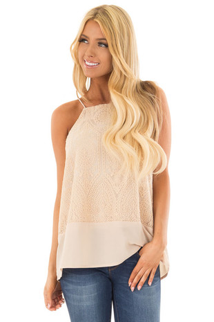 Beige High Neck Embroidered Tank Top front closeup
