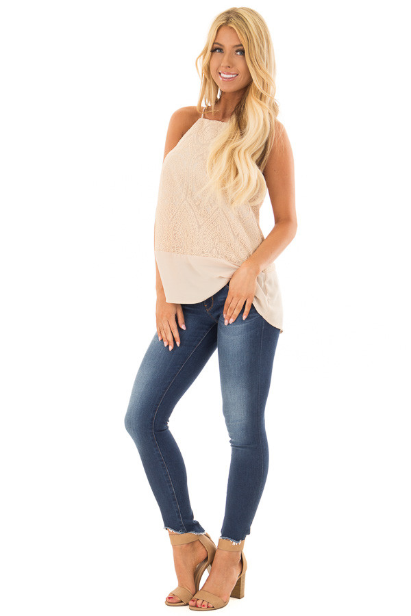 Beige High Neck Embroidered Tank Top front full body