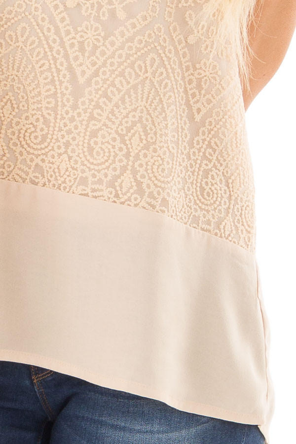 Beige High Neck Embroidered Tank Top front detail