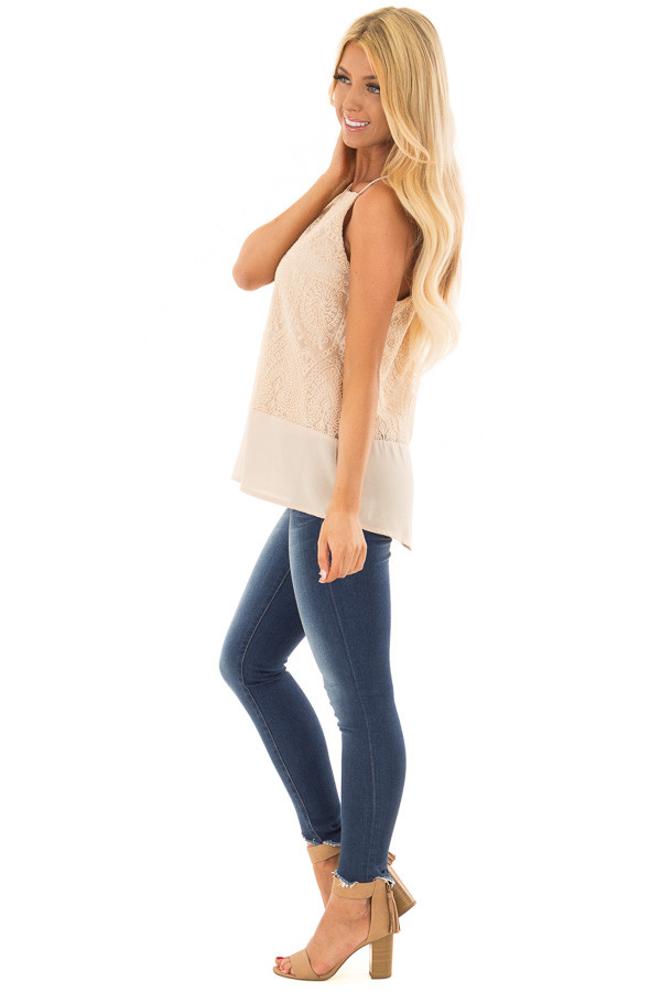 Beige High Neck Embroidered Tank Top side full body