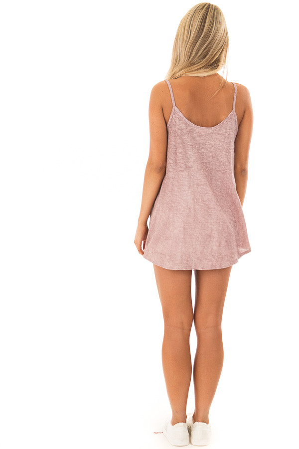 Mauve Mineral Wash Criss Cross V Neckline with Front Tie back full body