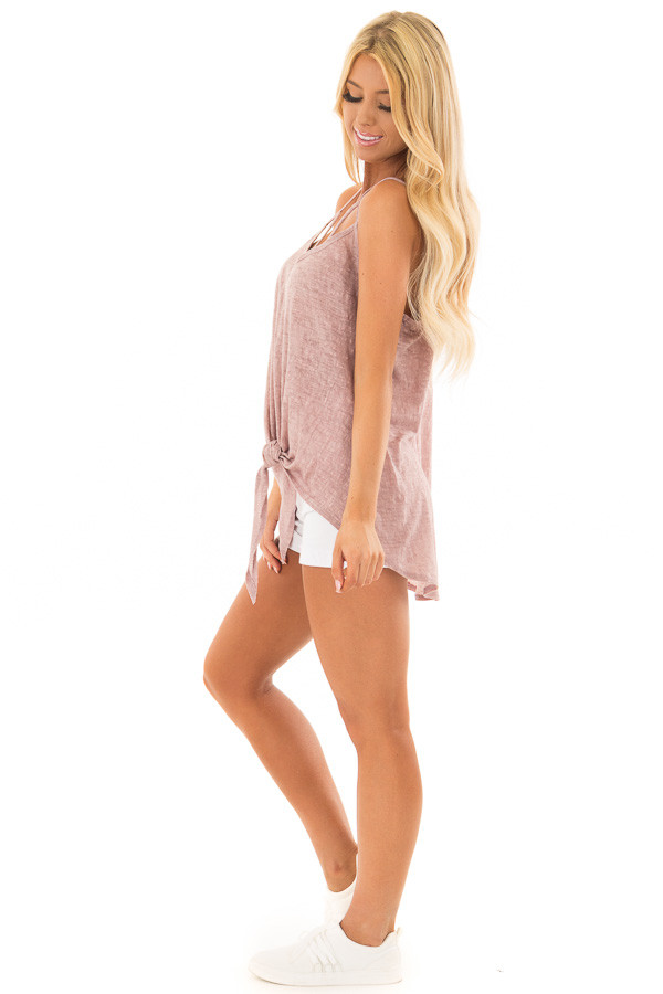 Mauve Mineral Wash Criss Cross V Neckline with Front Tie side full body