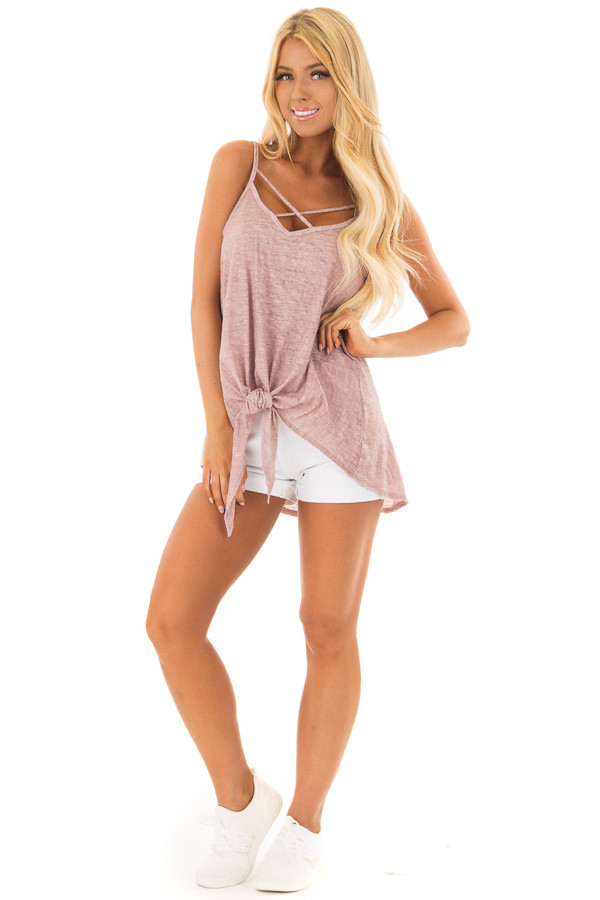 Mauve Mineral Wash Criss Cross V Neckline with Front Tie front full body