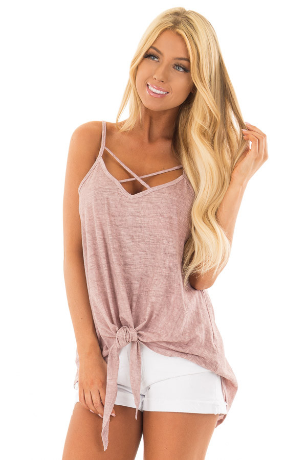 Mauve Mineral Wash Criss Cross V Neckline with Front Tie front closeup