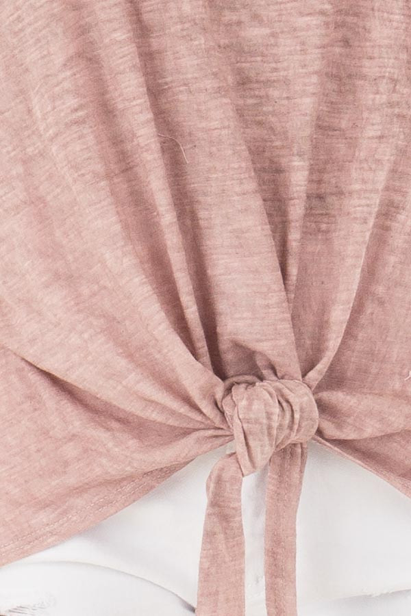Mauve Mineral Wash Criss Cross V Neckline with Front Tie front detail