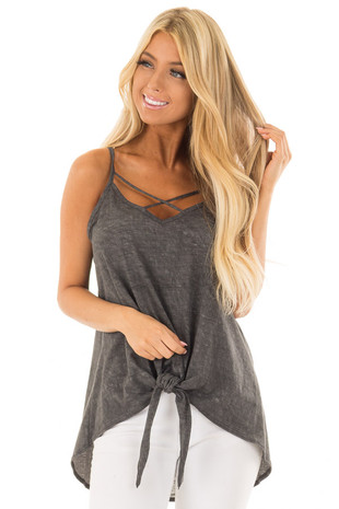 Charcoal Mineral Wash Criss Cross V Neckline with Front Tie front closeup