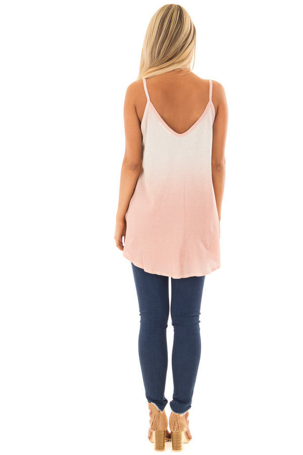 Peach Ombre Tank Top with Front Tie and Button Detail back full body