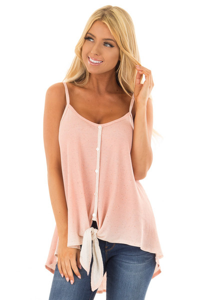 Peach Ombre Tank Top with Front Tie and Button Detail front closeup