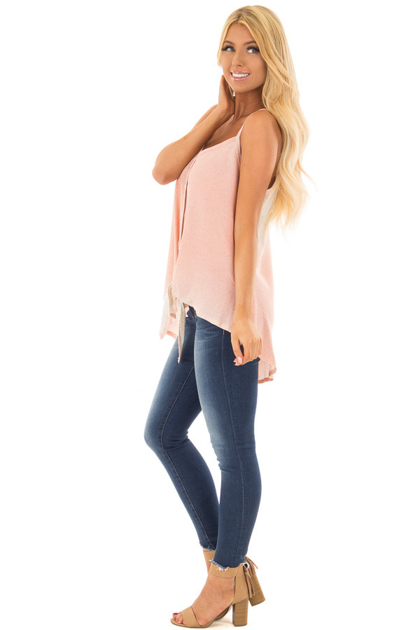 Peach Ombre Tank Top with Front Tie and Button Detail side full body