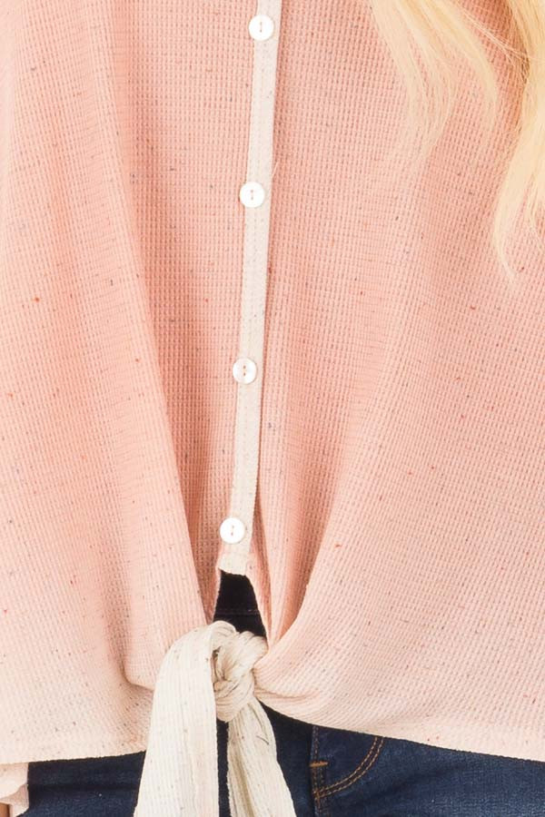 Peach Ombre Tank Top with Front Tie and Button Detail front detail