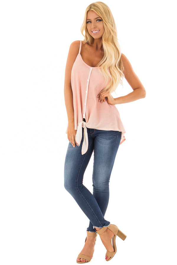 Peach Ombre Tank Top with Front Tie and Button Detail front full body