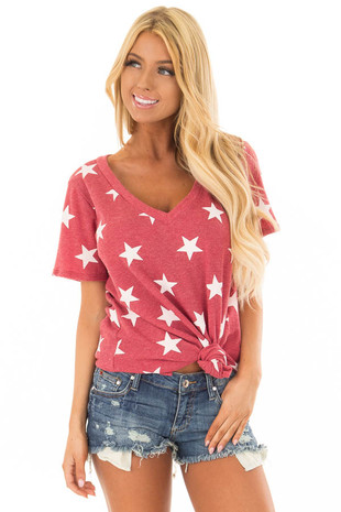 Rusty Red V Neckline Top with White Stars front closeup