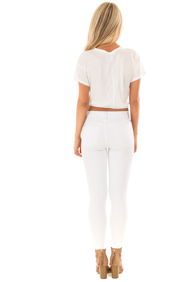 White Crop Top with Cut Out V Neckline and Front Twist back full body