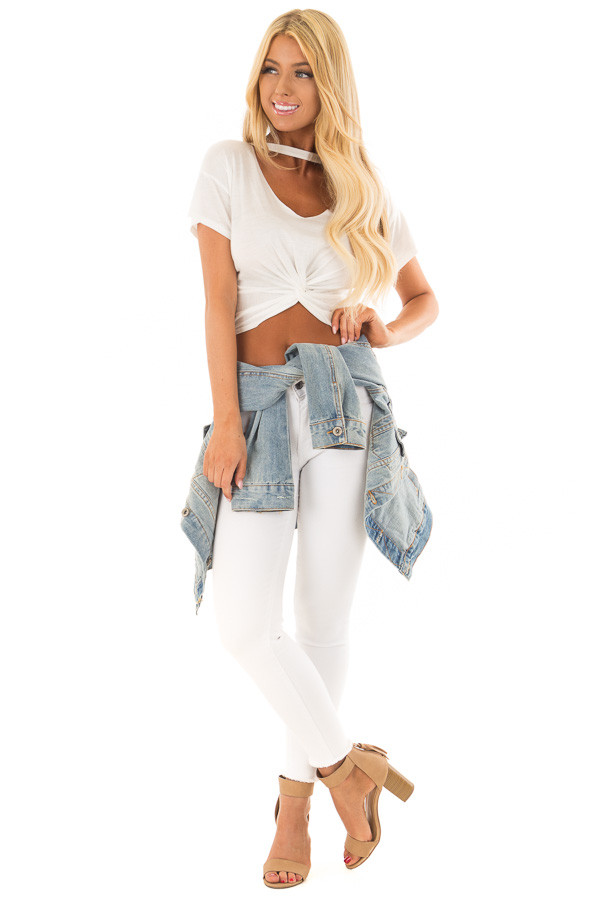 White Crop Top with Cut Out V Neckline and Front Twist front full body