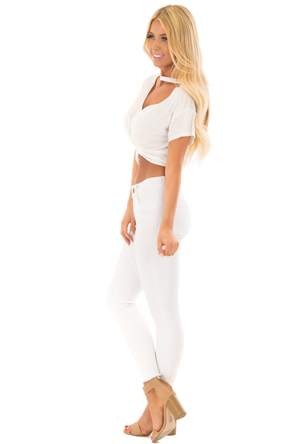 White Crop Top with Cut Out V Neckline and Front Twist side full body