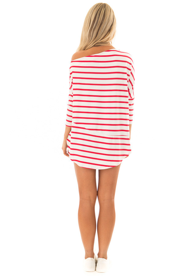 Scarlet Striped Off the Shoulder Dolman Top with Tie Detail back full body