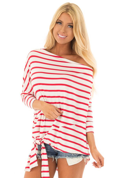Scarlet Striped Off the Shoulder Dolman Top with Tie Detail front closeup