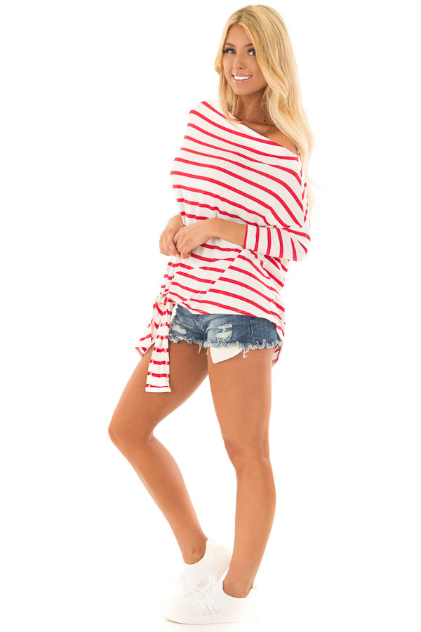 Scarlet Striped Off the Shoulder Dolman Top with Tie Detail side full body
