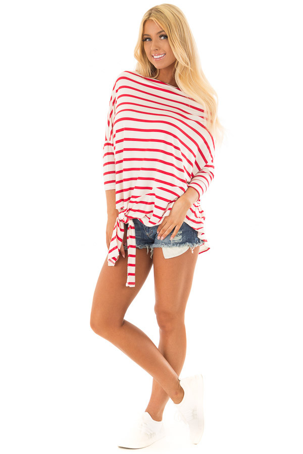 Scarlet Striped Off the Shoulder Dolman Top with Tie Detail front full body
