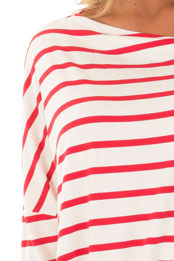 Scarlet Striped Off the Shoulder Dolman Top with Tie Detail front detail