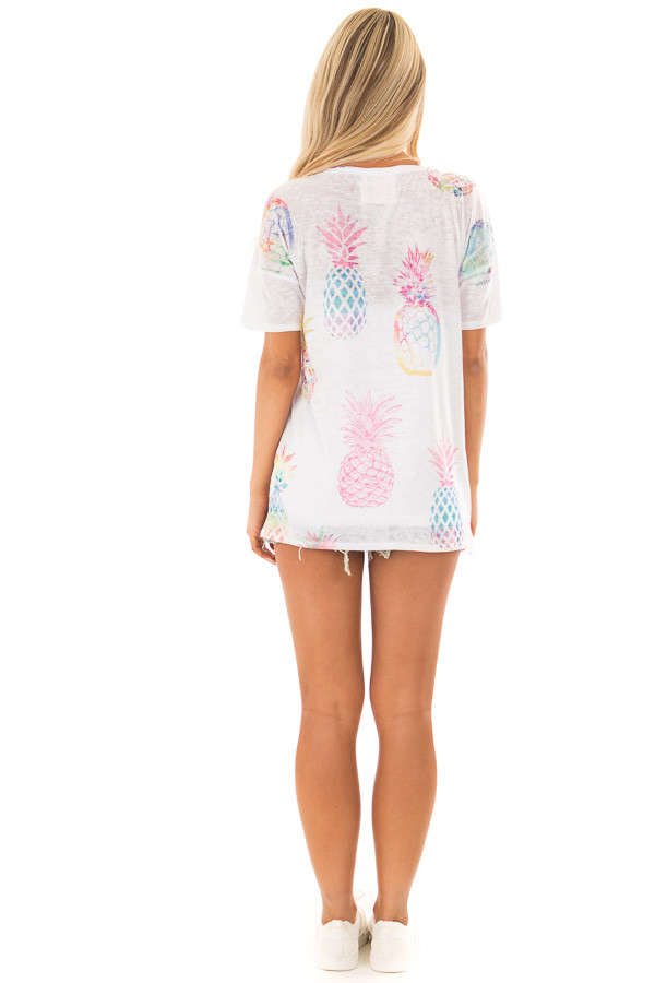 Off White Short Sleeve Top with Pineapple Graphic back full body