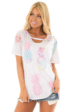 Off White Short Sleeve Top with Pineapple Graphic front closeup