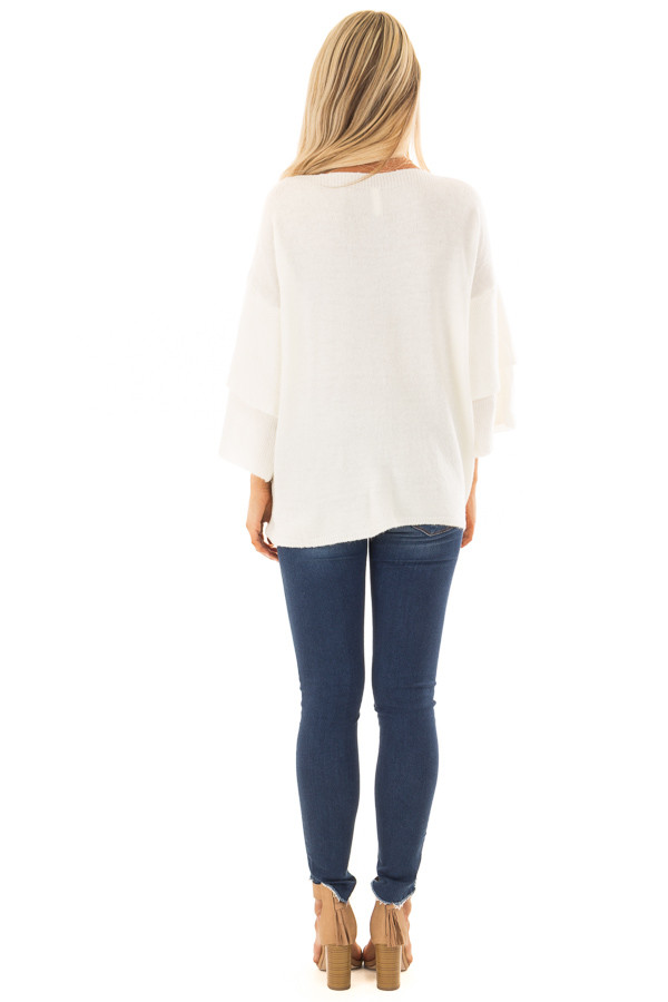 Ivory Boatneck Sweater with Tiered 3/4 Bell Sleeves back full body