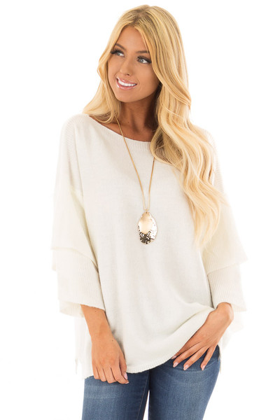 Ivory Boatneck Sweater with Tiered 3/4 Bell Sleeves front close up