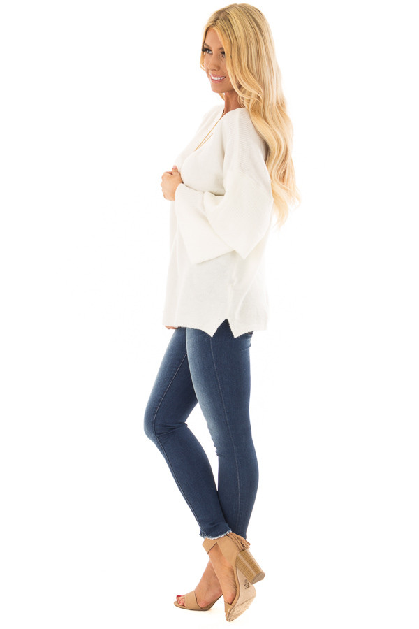 Ivory Boatneck Sweater with Tiered 3/4 Bell Sleeves side full body