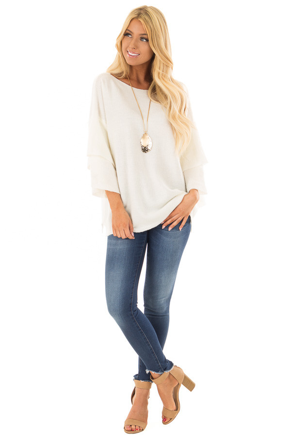 Ivory Boatneck Sweater with Tiered 3/4 Bell Sleeves front full body