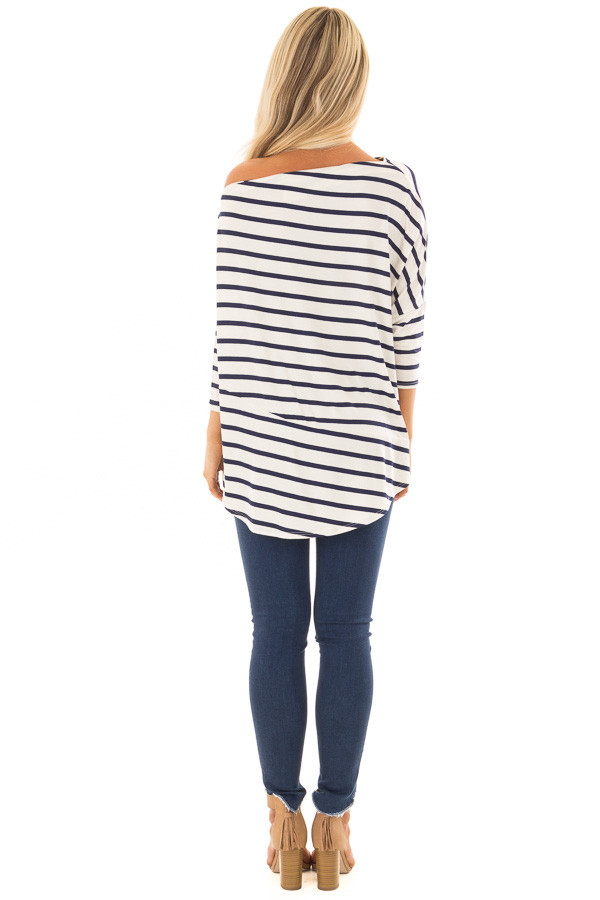 Navy Striped Off the Shoulder Dolman Top with Tie Detail back full body